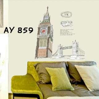Wall Sticker Uk. 60x90cm Motif British Clock