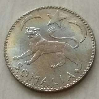 Somalia 1950 1 Somalo Silver Unc Coin With Luster