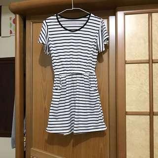 黑白蝴蝶袖條紋彈性短裙/連身裙/洋裝/裙子