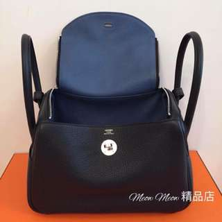Hermes Lindy 26cm Black Blue agate