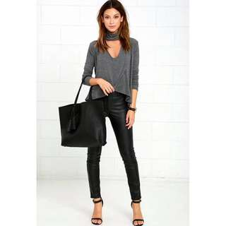 Cotton Overlapped Long Sleeve Blouse