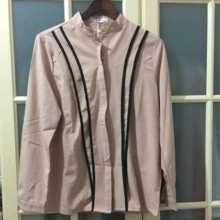 韓版長袖裸色襯衫,XL號全新#好物免費送,限面交