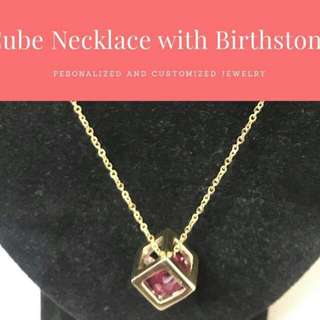 Customized Cube Necklace with BirthStone(BrassGold)