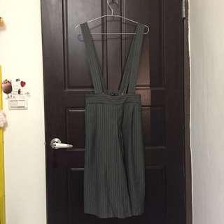 雅痞吊帶灰條寬褲裙