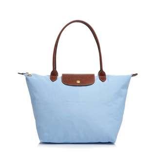Dusty blue - Longchamp Le Pillage nylon shoulder bag/ tote bag