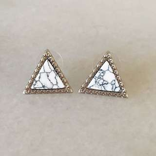 Triangle marble studs earrings hypoallergenic