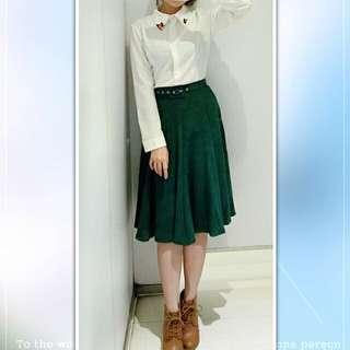 💘九折💘深綠絨布中長裙含腰帶