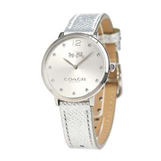 100% AUTHENTIC Coach Slim Easton Metallic Leather Strap Watch Silver 35mm
