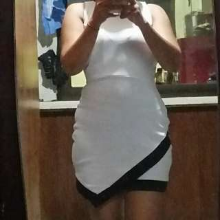 White bodycon short dress with black lining details