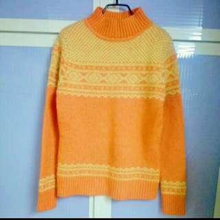 💘九折💘橘黃高領厚磅針織毛衣