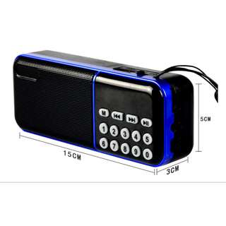 Portable FM Radio Digital Player with SD Card Slot Audio Radio FM Transmitter Speaker USB Rechargeable With  MP3 Player