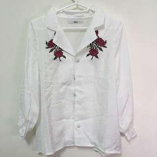 「全新」日牌🇯🇵 GRL 玫瑰刺繡襯衫 上衣 日系 荷葉邊