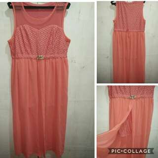 Coral Pink Tailed Mini Dress