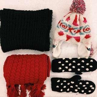 🚚 禦寒裝備出清 圍脖 圍巾 手套 毛帽