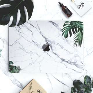 Abstract White Marble with Tropical Green Palm Leaves Macbook Vinyl Decal