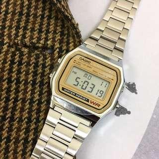 CASIO 不鏽鋼防水金屬錶|米色錶面
