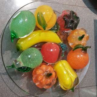 Glass fruits decor