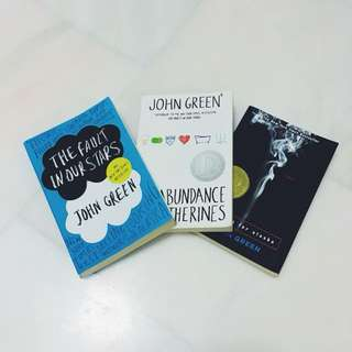 John Green books: The Fault in Our Stars, An Abundance of Katherines, Looking for Alaska