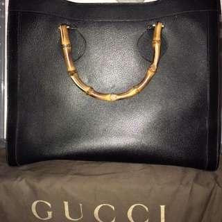 Authentic Vintage & Rare Large Gucci Bamboo Tote Bag