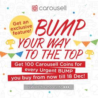 Get 100 Free Carousell Coins for Every Urgent Bump bought