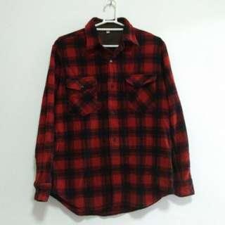 90%新 Uniqlo 男裝 長袖 紅黑格 恤衫