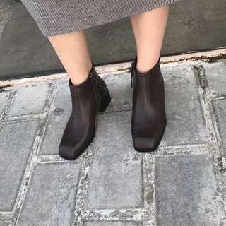 質感歐美粗跟拉鏈方頭皮革短靴