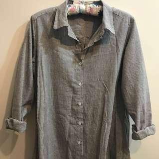 🚚 長版直條紋灰襯衫/外套/罩衫