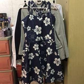 Sexy Dark Blue Floral Dress