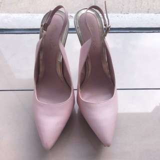 CHARLES AND KEITH BABY PINK HEELS
