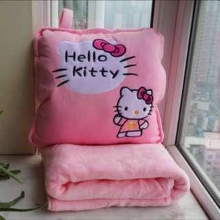 Xmas gift- hello kitty pink Blanket Cushion With handwarmer