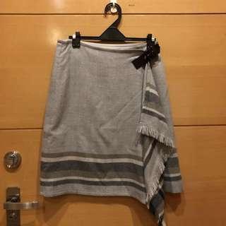 [日系轉角]23區 灰色 羊毛一片裙 民俗風 裙