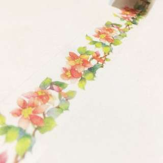 Red flowers washi tape