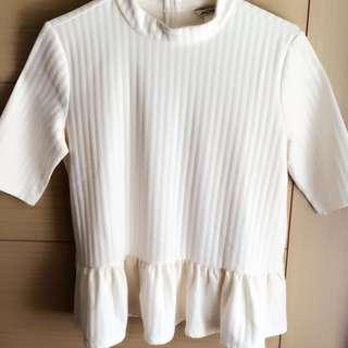 MONKI 針織編織 荷葉 小高領上衣
