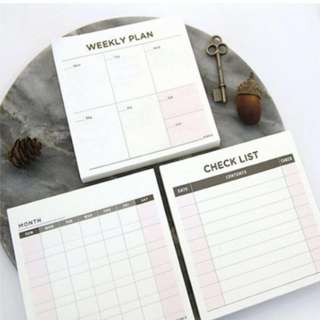 Checklist / weekly plan