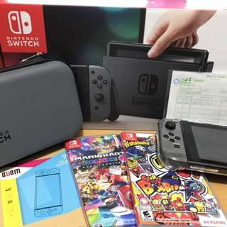 行貨灰機Switch+2 games ,9成半新主機