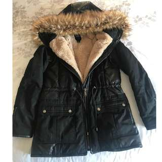 Black fur lined parka with faux leather details