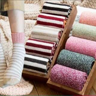 韓版 羊毛中筒棉襪