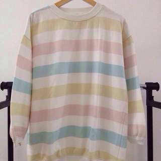 Korean Inspired Sweatshirt w/ pastel stripes