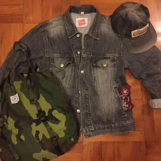 USA Hanes black denim jacket shirt 牛仔外套