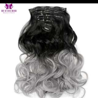 Hair Extensions Grey Ombre 50cm