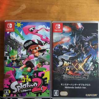 Switch game Splatoon2 及 mhxx(不分賣 )