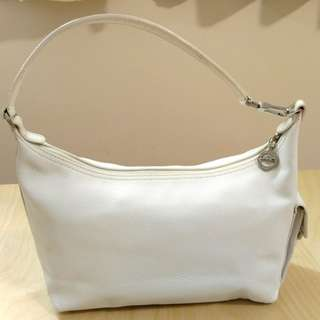 Longchamp White Leather Shoulder Bag