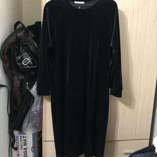queenshop黑色絨布洋裝