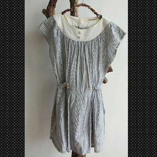 Long Dress Stripe Blue