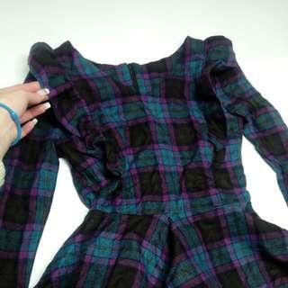【全新】荷葉邊/紫格子洋裝