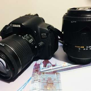 canon 700d with canon 18-55 and sigma 18-200 lens