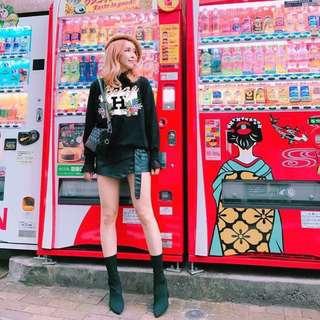 轉賣Oshare韓國連線 斜拉鍊皮褲裙 顯瘦款