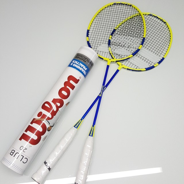 0eb7a4c74f 2 x Babolat Speedlighter Badminton Rackets + Wilson Club 20 Feather  Shuttlecocks