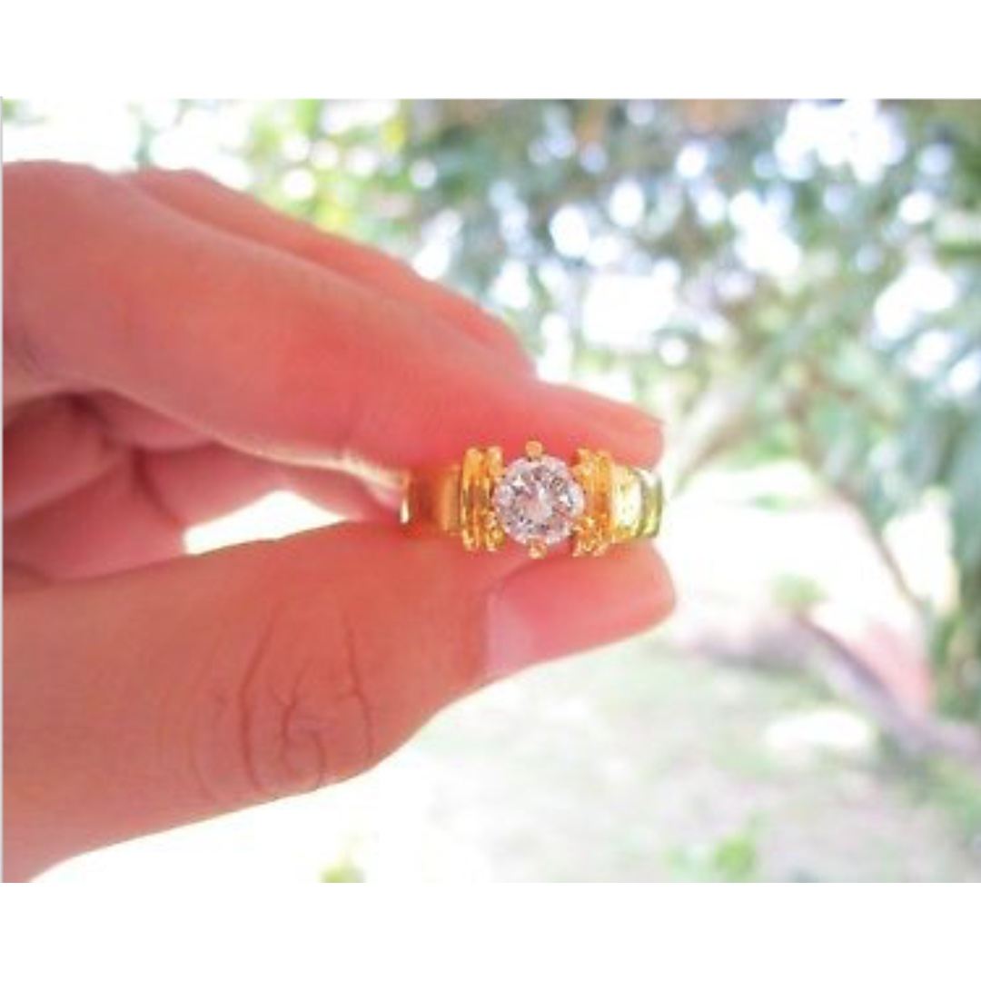 60 Carat Diamond Yellow Gold Engagement Ring 14K, Preloved Women\'s ...