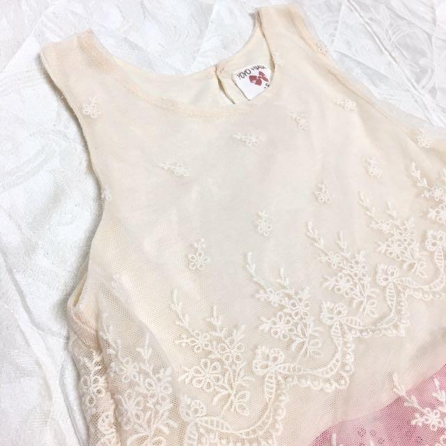 女童古典蕾絲亮片無袖背心式小洋裝9號